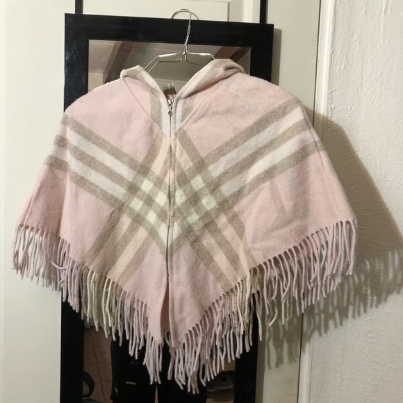 Burberry Sweaters - Burberry Pink Wool Cashmere Poncho Zip Up SZ S